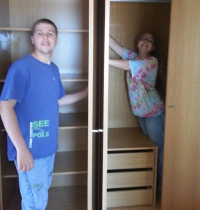 Jon & Becca cleaning out the closets